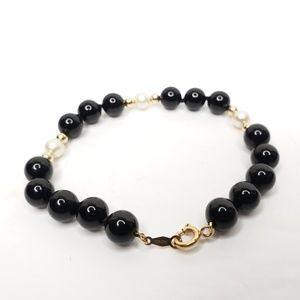 14K IPS Gold Black Onyx and White Pearl Bracelet